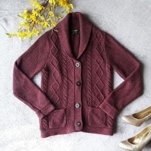Eddie Bauer Burgundy Red Angora Knit Cardigan